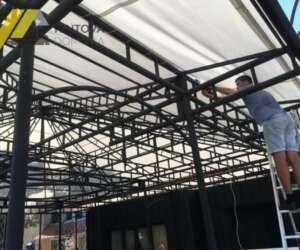 монтаж крыши тент